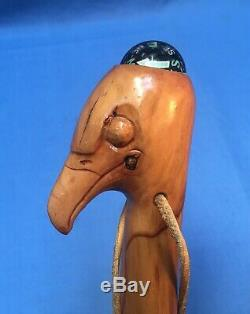 Native American Indian Signed Handcarved Eagle Walking Stick Mickey Irish