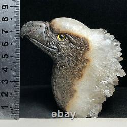 Natural Crystal Cluster Quartz Mineral Specimen Fine Handcarved Bald Eagles