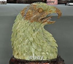 Natural Xiu jade jadeite Hand Carved Bird king Eagle Hawk Bust Feng Shui Statue