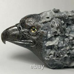 Natural crystal cluster quartz mineral specimen boutique pure hand carved eagle