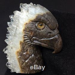 Natural crystal clusters of quartz mineral specimens boutique hand-carved eagle
