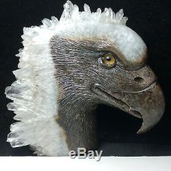 Natural crystal clusters of quartz mineral specimens, hand-carved eagle heads