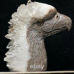 Natural quartz crystal cluster mineral specimen fine hand-carved bald eagle