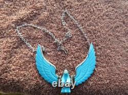 Navajo Harry Spencer Sterling Silver Hand Carved Turquoise Eagle 18 Necklace