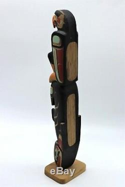 Ned Mattilpi Hand Carved Painted Signed Totem Eagle Killer Whale First Nation