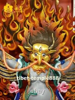 Nepal pure red copper 24K gold Garuda Dhwaja Hawk Eagle Bird God buddha Statue