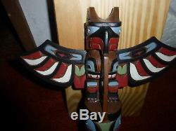 Northwest Coast Alaskan Hand Carved Cedar Eagle-Bear-Whale-Wolf Totem. A Must