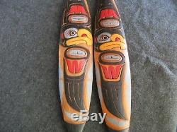 Northwest Coast Ceremonial Eagle Paddle, Hand Carved & Painted Oar Wy-02451