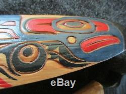 Northwest Coast Ceremonial Eagle Paddle, Hand Carved & Painted Oar Wy-02478