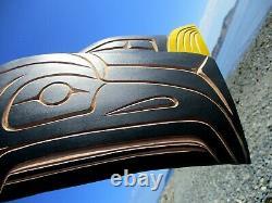 Northwest Coast First Nation native art hand carved cedar 19 Bald Eagle, signed