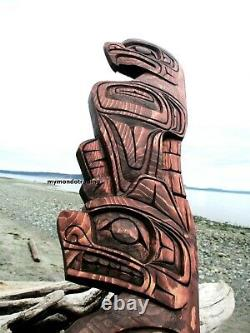 Northwest Coast First Nations native Art carved3 ft EAGLE and BEAR hand carved
