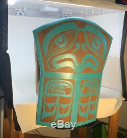Northwest Coast First Nations native cedar hand carved Copper Shape Eagle