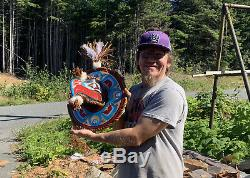 Northwest Coast First Nations native cedar hand carved EAGLE by John Jacobson