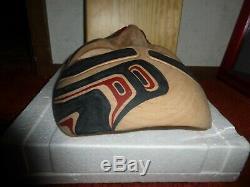 Northwest Coast Haida Nation Eagle Hand Carved Cedar Human Mask-Carol Young