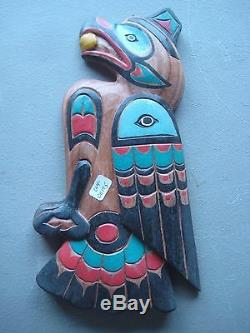 Northwest Coast Hand Carved Eagle Plaque, Hand Painted Wood Carving, #wy-00195