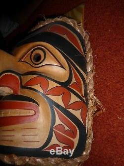 Northwest Coast Salish Hand Carved Cedar Human Eagle Mask-Rand Stiglitz