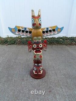 Northwest Coast Signed Native Indian Hand Carved Wooden Eagle Totem Pole 27 1/2