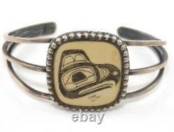Northwest Native American Sterling Silver Hand Carved Eagle Cuff Bracelet