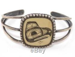 Northwest Native American Sterling Silver Hand Carved Eagle Cuff Bracelet SEK