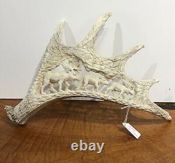 ORIGINAL 15 Antler Bone Carving Hand Carved Moose Eagles Live Shed Detailed Art