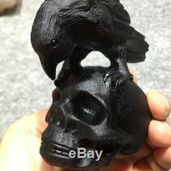 Obsidian Skull Natural Quartz Crystal Hand Carved Eagle Sculpture Healing Gift