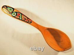 Odin Lonning hand painted eagle Tlingit wood carved spoon
