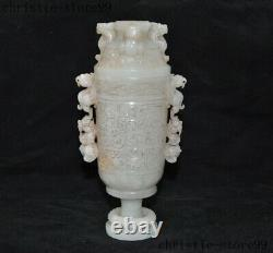 Old China natural Hetian jade Hand carved eagle Bear statue goblet wineglass cup