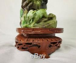 Old Chinese Carving Art Sculpture Jade Eagle & Rabbit With Fitted Wooden Stand