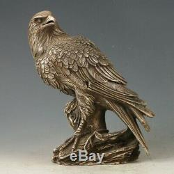 Old Chinese Tibetan Silver Hand Carved Eagle Statue