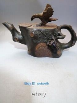 Old Chinese Yixing Zisha Purple Sand Clay Hand Carved Stump Eagle Teapot 380 cc