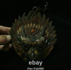 Old Tibet Bronze Redpoll Winged Garuda Bird Eagle Buddha Head Mural Hang Statue