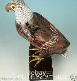Only one Rare Old Cloisonne Copper Enamel eagle Collect Statue on Wood Stand
