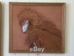 Original Framed Wedge Tail Eagle, handcarved leather