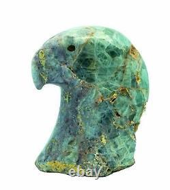 Orin Eriacho, Eagle Head, Fluorite, Zuni Hand Carved Fetish, 3 3/4 x 3 5/8