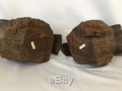 PAIR Hand Carved Ironwood Falcon Hawk Eagle Statue Bookends Bird 10.5 Solid