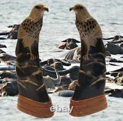 Pair of Unique Hand Made Eagle Sculpture Beautiful Water Buffalo Horn Thai Art