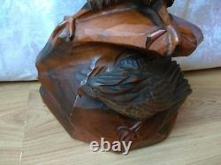 RARE Vintage Wooden Decor Art carving Two Eagle Hand Made