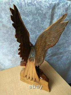 RARE Vintage old Wooden Decor Art carving Two Eagle Hand Made set 3