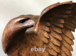 Rare Antique Black Forest Hand Carved Eagle Hawk Liqueur DECANTER Stand Tantalus