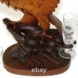 Rare Antique Black Forest Hand Carved Eagle, Hawk, a Liqueur Stand or Tantalus