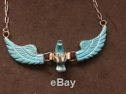 Rare Native American Indian Navajo 3D Hand Carved Turquoise Eagle Necklace 3 Lg