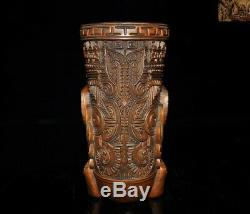 Rare Old China dynasty Boxwood Wood Hand carved eagle bird statue wineglass cup