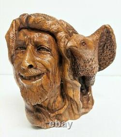 Rare Stunning Detailed Hand-Carved Solid Wood Eagle Hunter Mongolia Art Deco