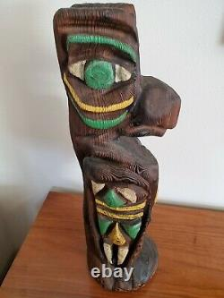 Rare Vtg 60's Mid Century Hand Carved WITCO Eagle Totem XL 23.5