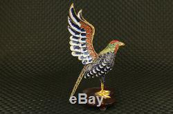 Rare old cloisonne hand painting eagle statue noble table home decoration gift