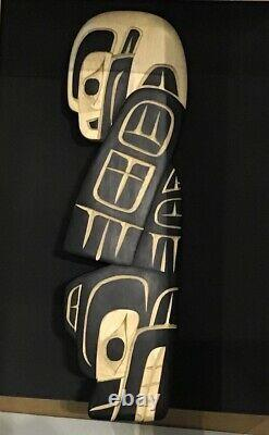 Richard KRAWCHUK Carving Bear & Eagle Hand Painted Totem Native Cedar Art Haida