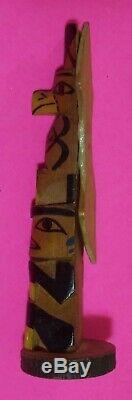 Signed Northwest Coast Alaska Native Indian Wooden Hand Carved Eagle Totem Pole