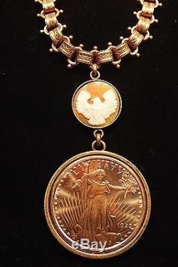 Statue of Liberty Copper Necklace with Eagle Hand carved Cameo