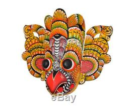 Stunning Hand Carved Wood Wall Home Decor Eagle Bird Decorative Tiki Mask 15