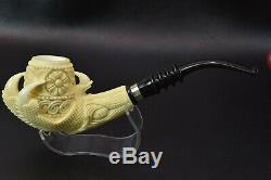 TEKIN Ornate Eagle Claw Pipe BLOCK MEERSCHAUM-NEW-HAND CARVED W Case#1447